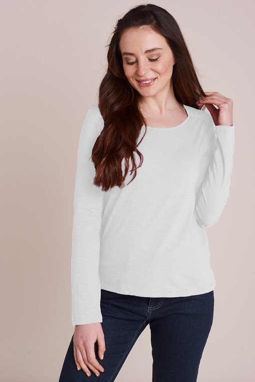 Mistral Lace Shoulder Long Sleeve Tee  - White