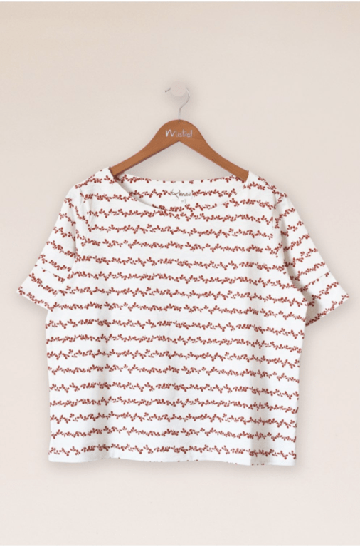 Mistral Meadow Rows Tee - White & Ginger