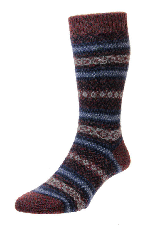 Pantherella Fasque Cashmere Sock - Rust/Denim