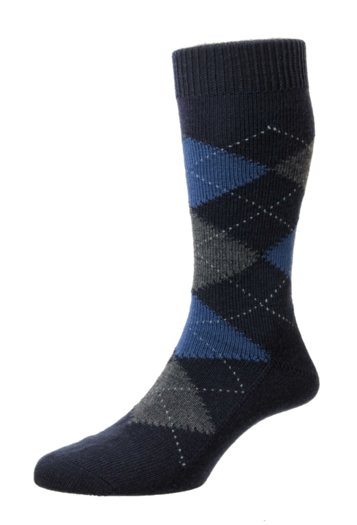 Pantherella Racton Merino Wool Socks  - Navy