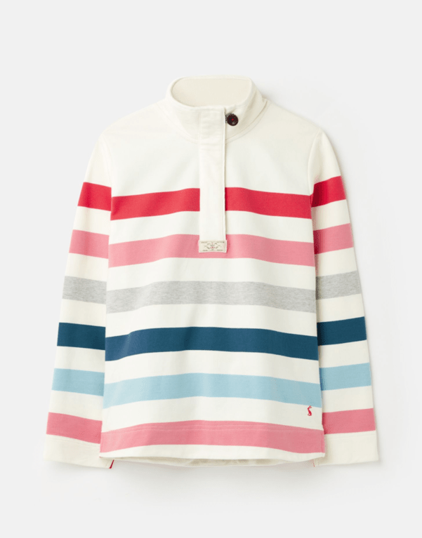 Joules Saunton H/Z Sweat - Cream Pink Stripe