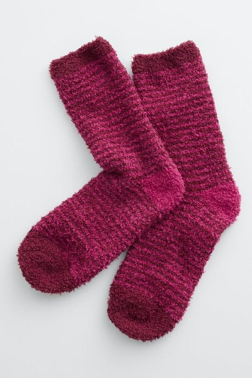 Seasalt Fluffy Short Socks - Canvas Rich Red Berry