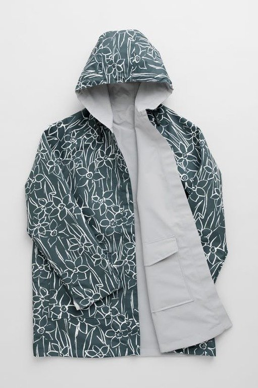 Seasalt Reverse Raincoat - Drawn Daffodils Nickel