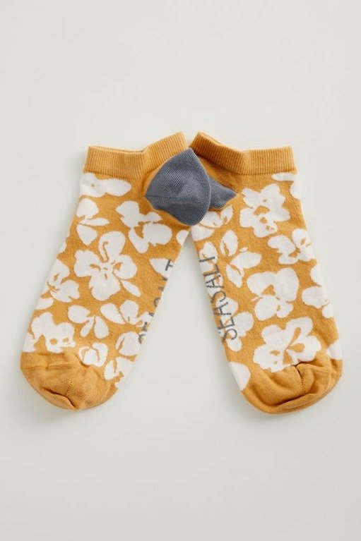 Seasalt Women's Arty Trainer Socks  - Grassland Flowers Hay