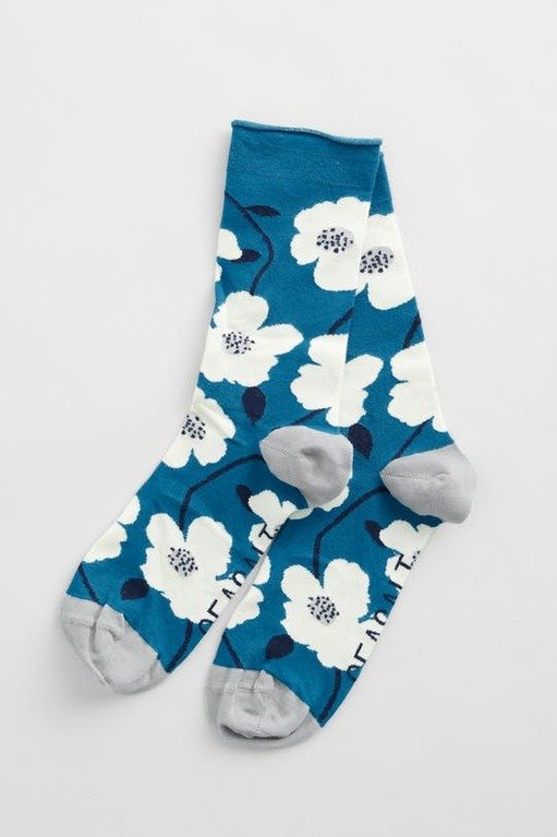 Seasalt Women's Bamboo Arty Sock - Wild Mallow Waterscape
