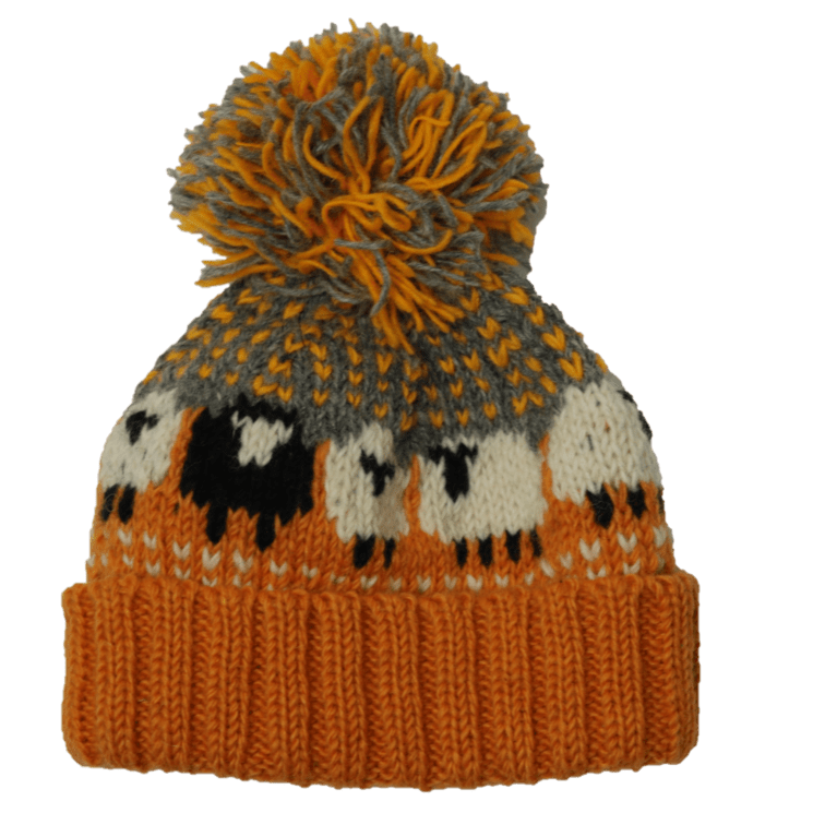 From The Source Sheep Bobble Hat - Ochre