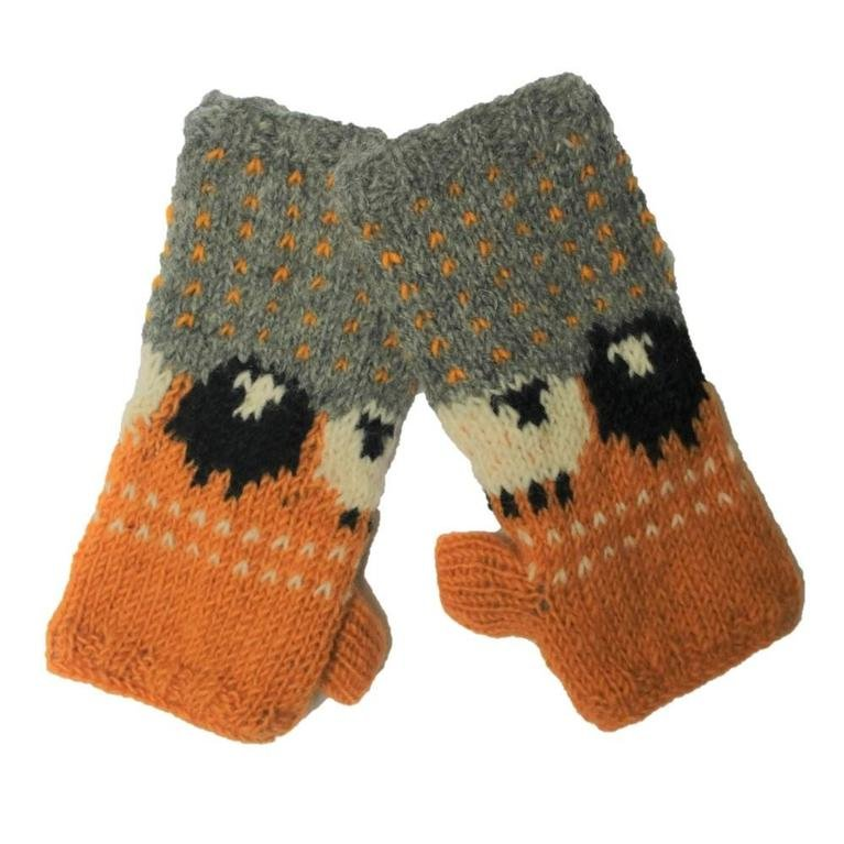 From The Source Sheep Mittens - Ochre