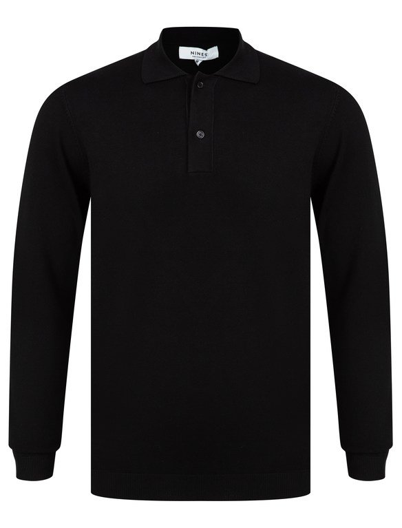 SRG Fenston Long Sleeved Polo Neck Knit - Black