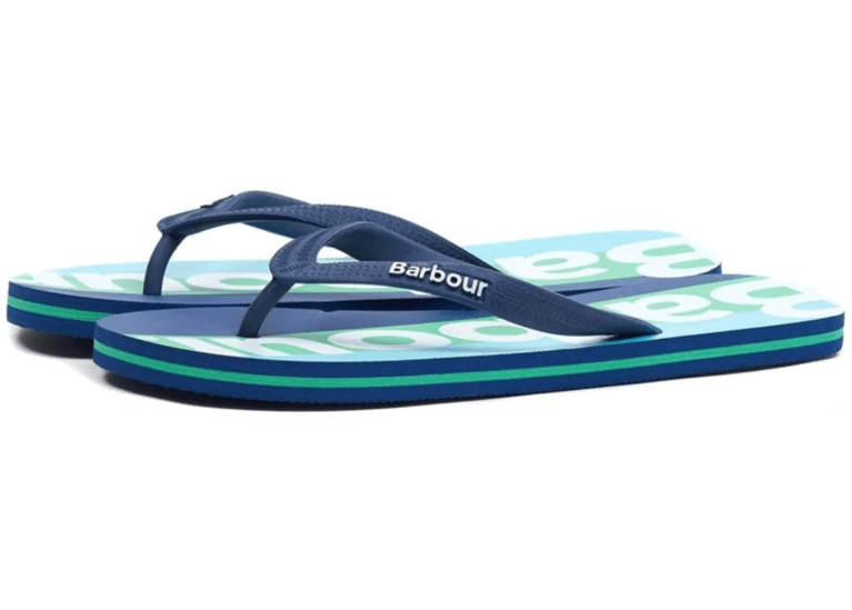 Barbour Stripe Beach Flip Flops - Blue/Green