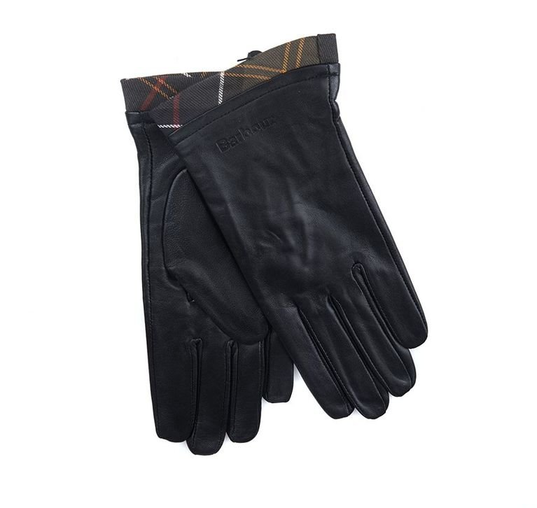 Barbour Tartan Leather Glove - Black