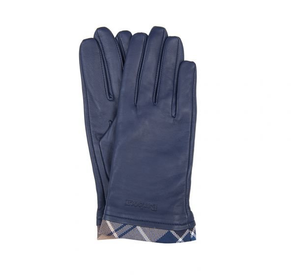 Barbour Tartan Leather Glove - Navy