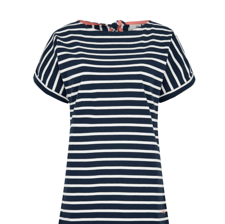 Weirdfish Esha Striped Jersey Tee - Dark Navy